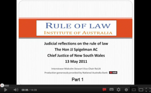 Click here for JJ Spigelman - Reflections on the Rule of Law - Part 1