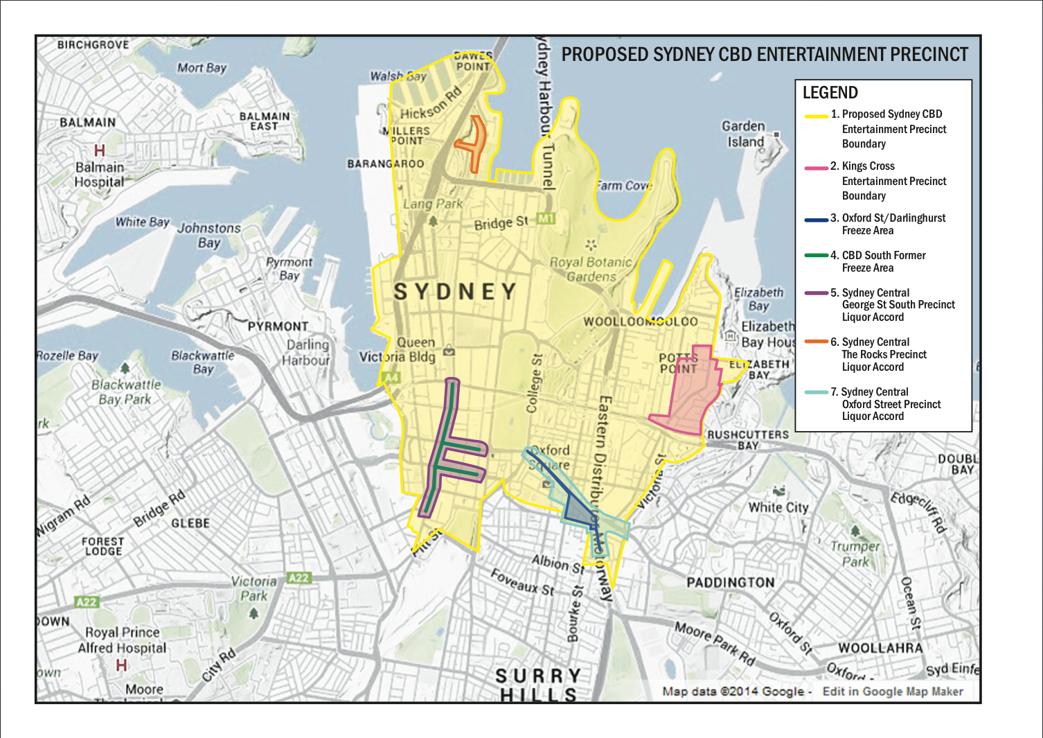 map of alcohol restrictions in Sydney CBD
