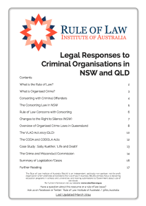 Rule of Law Institute Booklet - Legal Responses to Criminal Organisations