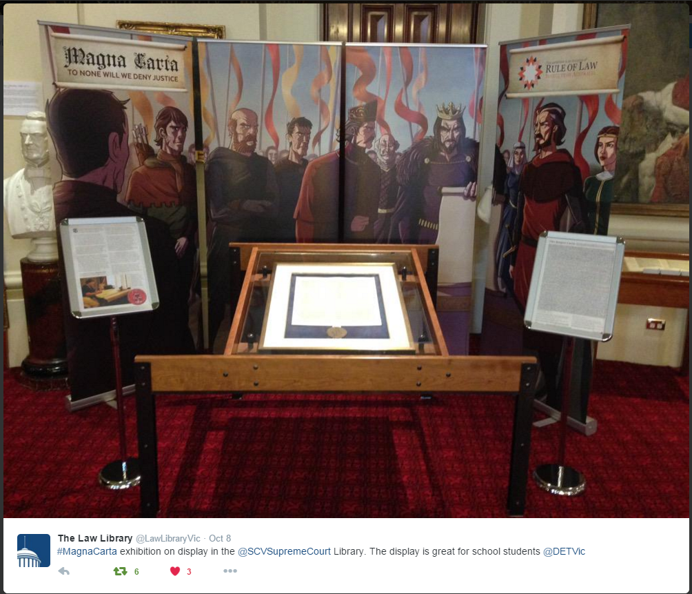 Magna Carta Exhibition at the Supreme Court in Victoria