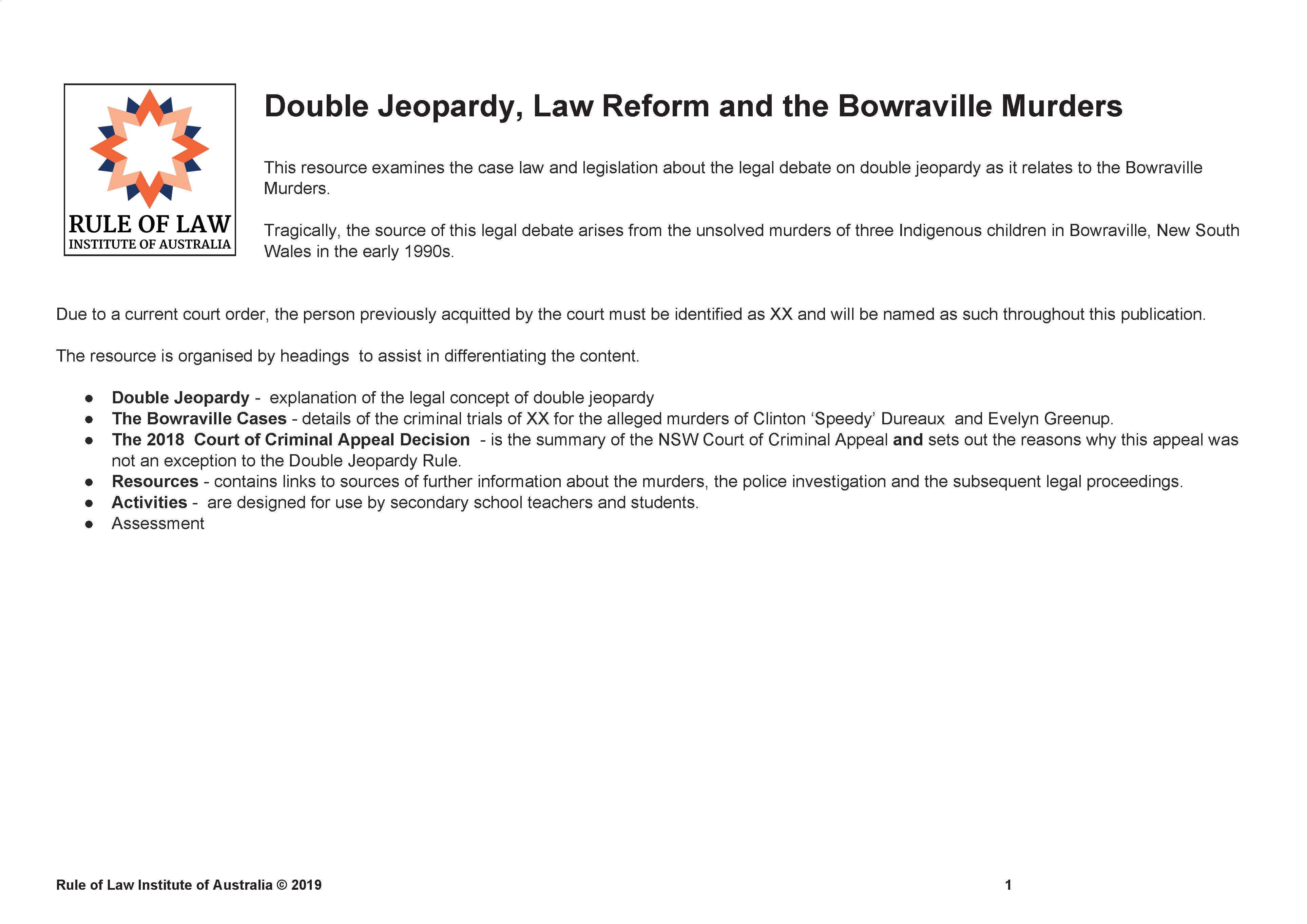 Double Jeopardy and the Bowraville murders - Australia's