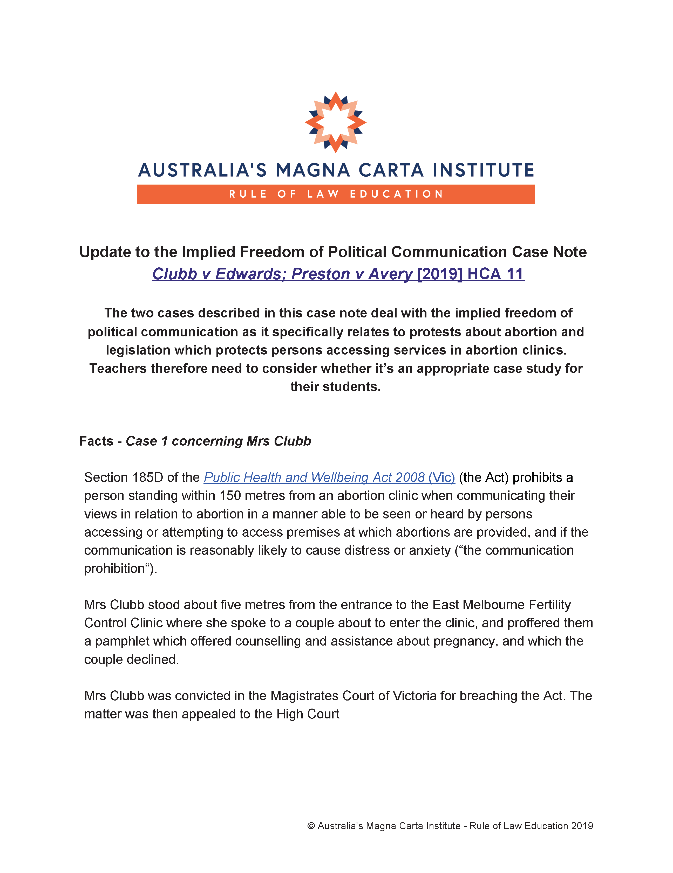 Case note - Implied freedom of Political Communication